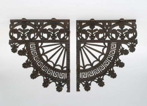 Vintage Victorian Cast Iron Spandrel Brackets - Set of Two (2)