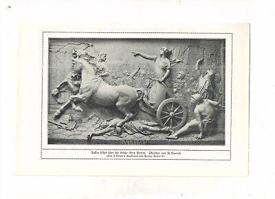 QUEROL A. - TULLIA faehrt ueber die LEICHE - Relief  - alter Druck -  um 1900 -