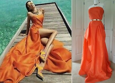 SALE ✔$5850 NEW RUBIN SINGER STUNNING ORANGE SILK TRAIN GOWN DRESS RUNWAY 14