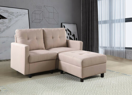 7-Piece Modular Sectional Sofa Modern Living Room Linen Couch With Back Cushion  5