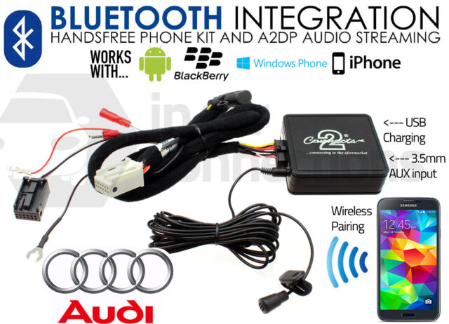 Audi A2 Bluetooth streaming handsfree calls AUX MP3 iPhone iPod Sony HTC 2006 on