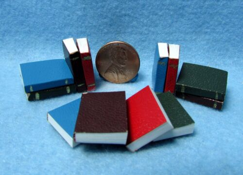 Dollhouse Miniature Book Set of 12 Blank Pages and Leather Covers IM65771