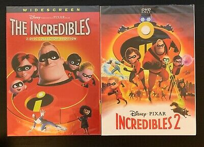 The Incredibles 1 and Incredibles 2 (2-DVD Disney/Pixar Bundle, Brand New) Free