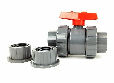 2 True Gray Union Pvc Ball Valve Socket Slip Solventthread Pipe Schedule 40