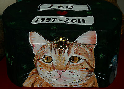 Custom hand painted cat portrait memorial Wood box Pet URN For ashes Cat urn