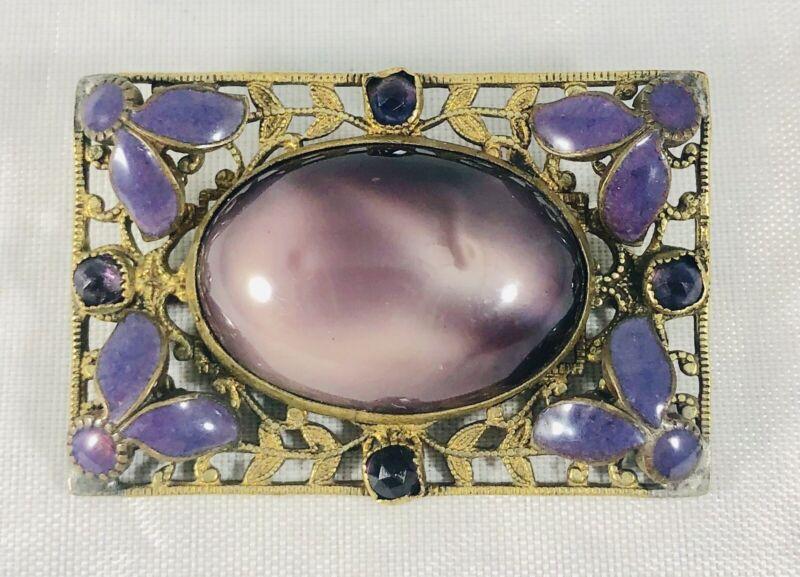 Antique Victorian Art Nouveau Purple Glass Goldtone Brooch