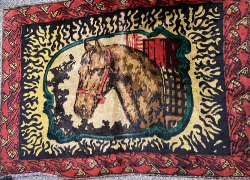 "Antique Vintage STROOCK Horse Hair Carriage Sleigh Buggy Blanket 47"" x 60"""