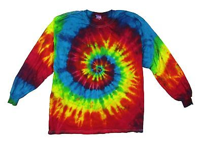 Multi Colored Spiral Electro Tie Dye Long Sleeve T Shirt New Never Worn USA - Multi Colored Tie Dye