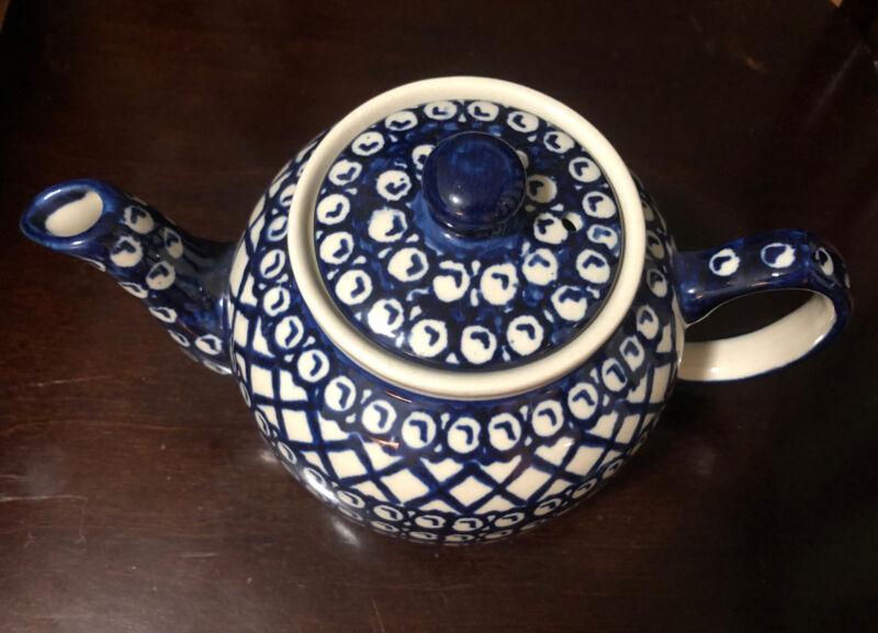 Pottery Teapot Boleslawiec Polish Excellent Condition M7