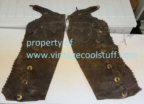 Antique American Cowboy Chaps 6 Studded Stars with Pockets!