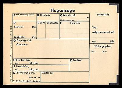 5 Stück FORMULARE: FLUGANSAGE (blanko), 1940