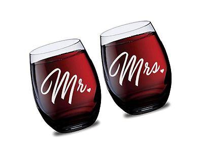 Mr and Mrs Stemless Wine Glasses for Bride and Groom Wedding Celebration