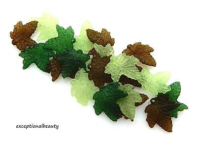 Assorted Leaves - 120 Assorted 20x3mm Frosted Green Olive Leaf Leaves Lucite Bead Drop Charms
