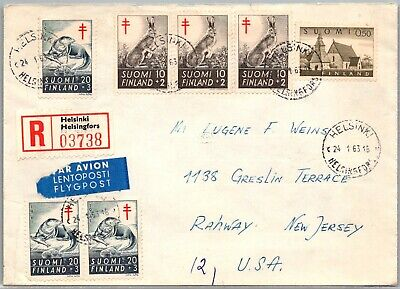 GP GOLDPATH: FINLAND COVER 1963 AIR MAIL REGISTERED LETTER _CV674_P04