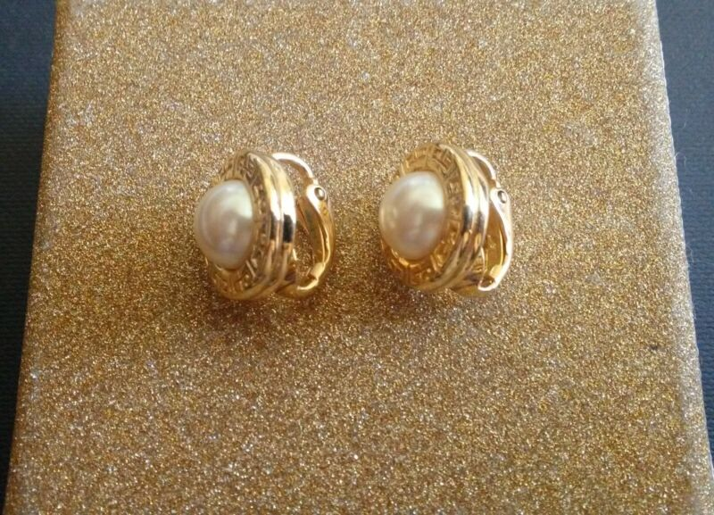 GIVENCHY EARRINGS- White Pearl Cabochon /Gold Vintage Clip-On Earrings