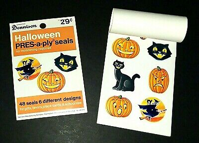 Vintage *UNUSED* Halloween Seals:Book Of (48) J-O-Ls, Blk. Cats,Witch~*Dennison*