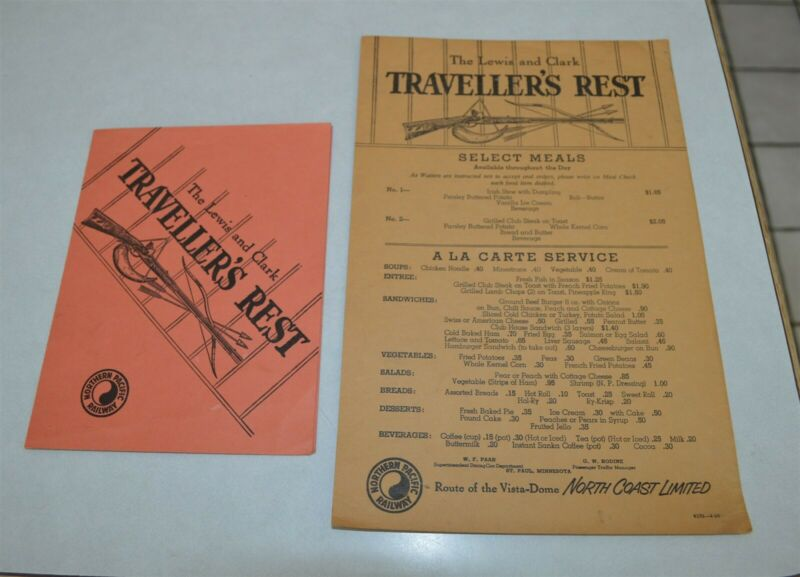 2 Old Northern Pacific Railroad Dining Car Menus Lewis & Clark Travelers Rest