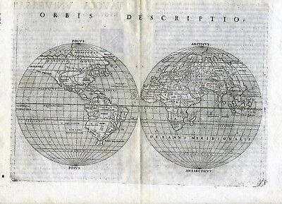 1561 Genuine OLD Antique map World. E & W Hemispheres. Orbis Descriptio Ruscelli