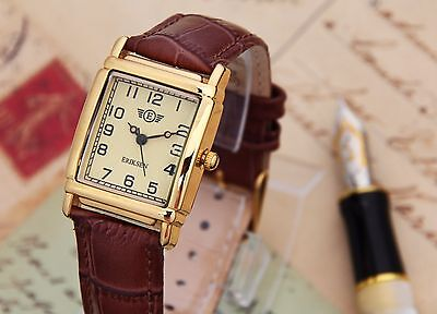 Eriksen Ladies Gold Vintage Retro Rectangular Analog Dress Watch LG