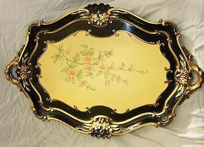 Antique Paper mâché Decorative Serving Tray Floral Pattern From Europe Gold Trim