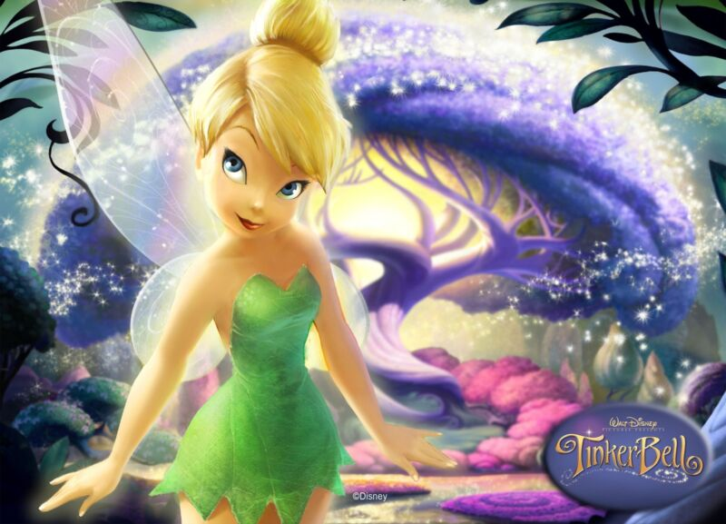 """Tinkerbell Iron On Transfer 5"""" x 7"""" for LIGHT Colored Fabric"""