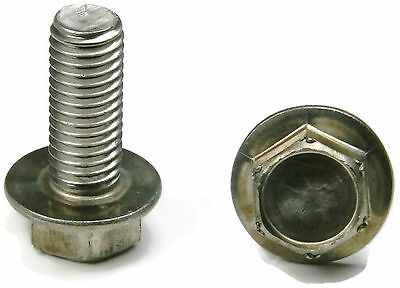 - Stainless Steel Hex Cap Flange Bolt FT Metric M6 x 1.0 x 20M, Qty 10
