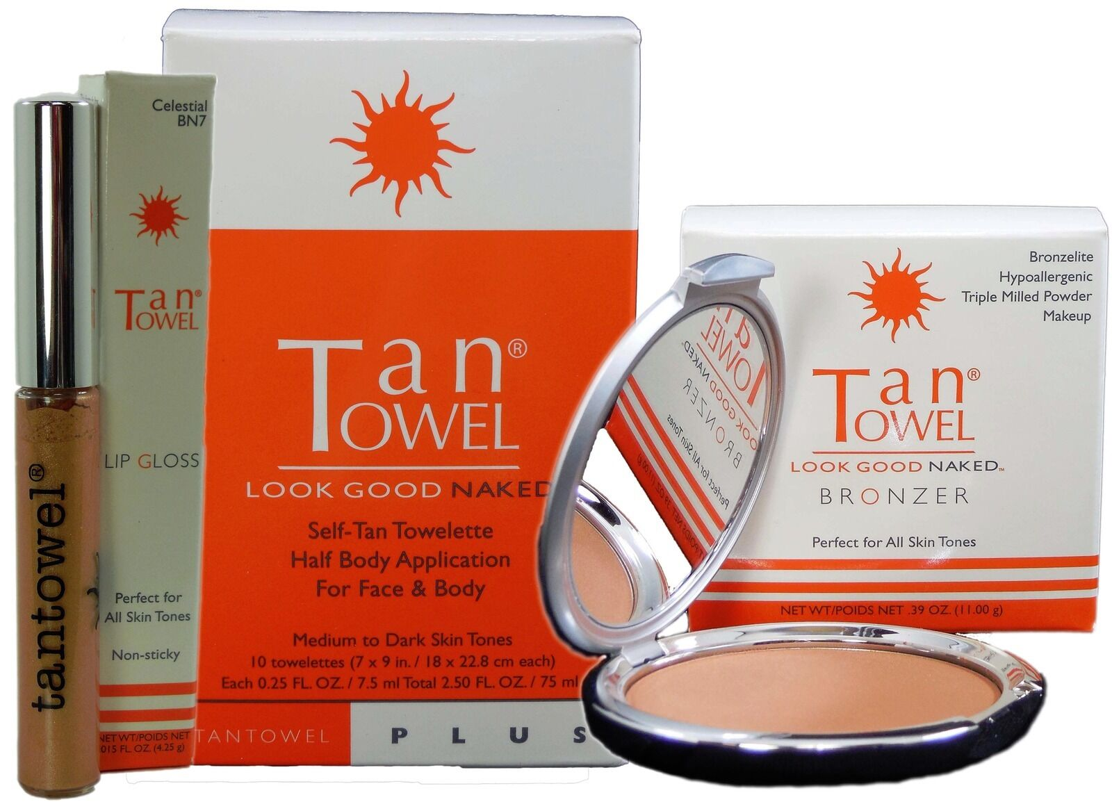 Tantowel Half Body Plus 10pk, Lip Gloss And Bronzer Set