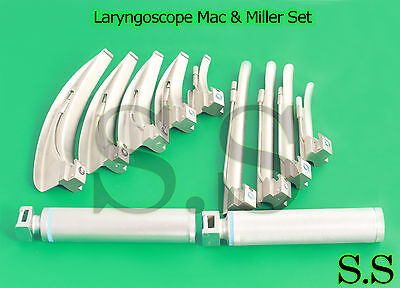 Laryngoscope Mac Miller Set Of 9 Blades 2 Handles Emt Intubation No Case