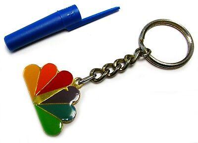 MEGA RARE - NBC PEACOCK KEYCHAIN TV CHANNEL TELEVISION NETWORK BRASS ENAMEL