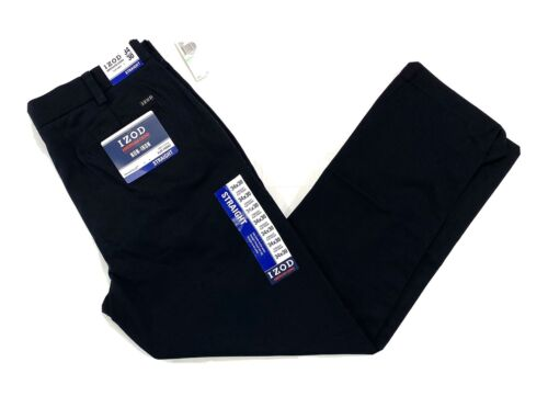 IZOD Straight Fit American Chino Flat Front Pants 38x30, Bla