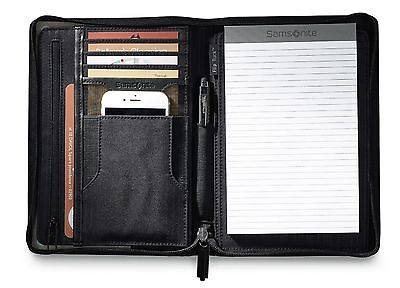 Samsonite Perry Leather Junior Zippered Closure Padfolio with Gift Box  - New Junior Zippered Padfolio