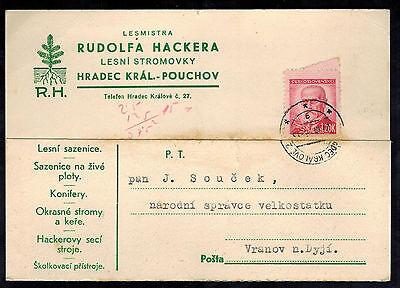 1946 HRADEK CZECHOSLOVAKIA TYPEWRITER POSCTARD COVER TO VRANOV RUDOLFA HACKERA