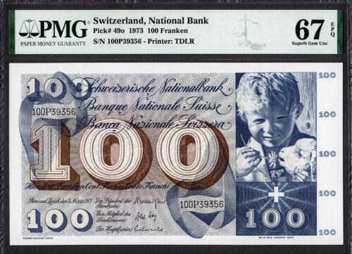 Switzerland 100 Francs 1973 Pick-49o SUPERB GEM UNC PMG 67 EPQ