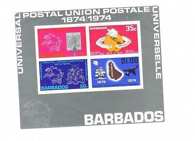 Barbados 1974 U.P.U. Centenary Miniature Sheet  MH