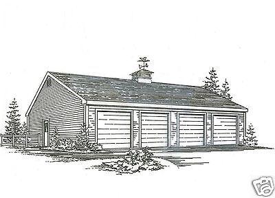 48x 24 - Four Car  Garage Building Plans Blueprints