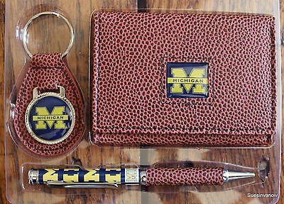 Michigan Wolverines Football  NCCA Brown Tri-Fold Wallet Keyring Pen Gift Set Michigan Wolverines Brown Football