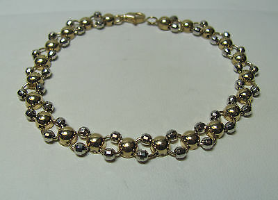 """10KT Yellow & White Gold UNIQUE Beaded 7"""" Bracelet With Lobster Claw Clasp R8459"""