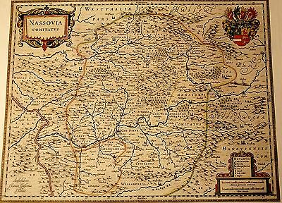 Historische Landkarte Nassau Wetzlar Wiesbaden Dietz 1658