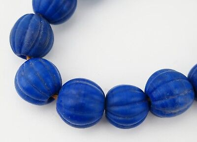 Glass trade bead necklace. North Indian / Nepal Blue round melon beads.