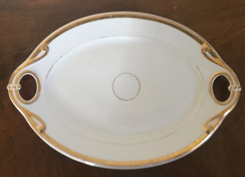 Antique 19th century Old Porcelain Platter Oval Tray White & Gold Wedding Band