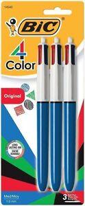 BIC 4-Color Ballpoint Retractable Pen Assorted Ink Medium 3 Pack - New Item