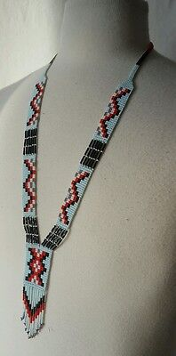 HANDMADE MAYAN INDIAN BEADED NECKLACE WITH FRINGE NATIVE AMERICAN DESIGNS