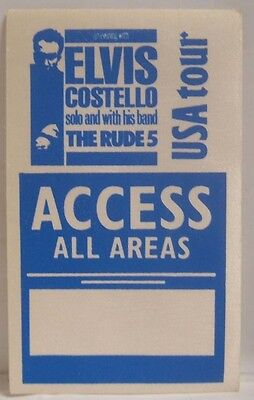 ELVIS COSTELLO - ORIGINAL CONCERT TOUR CLOTH BACKSTAGE PASS