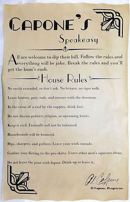 Al Capones Speakeasy House Rules V2 Poster 11 X 17  Bar  Gin Joint  Speak Easy