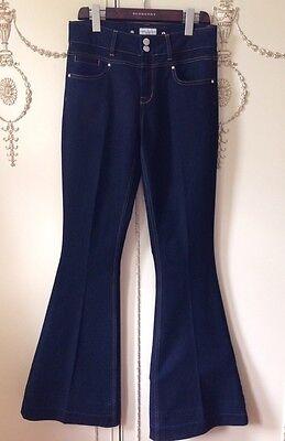 Karen Millen Jeans Trousers Dark Blue Denim Flares 70's Fashion Size