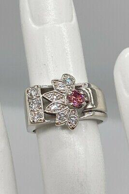 Antique 1940s RETRO .65ct Genuine VIVID Pink Diamond 14k White Gold Band Ring