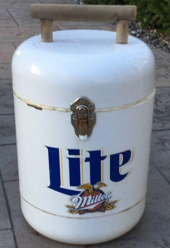RARE Vintage Miller Lite Beer Round Cooler Wooden Handle Promo