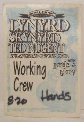 LYNYRD SKYNYRD / TED NUGENT / PRIDE & G - ORIGINAL CLOTH BACKSTAGE PASS *LAST 1*