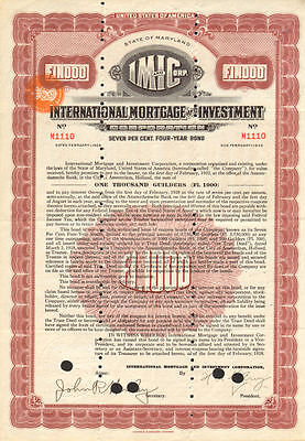 International Mortgage And Investment   Amsterdam Holland Bond Certificate Stock