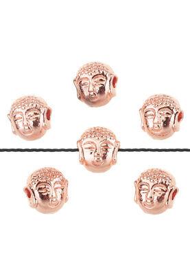 5 Stück Perlen Buddha Metall rosegold 7x7,5mm  - 7 Stück Metall